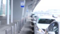 Taxi sevice, lots of ready cars near airport, click for HD Stock Footage