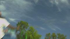 Slow Motion BMX Back Flip Against Blue Sky - stock footage