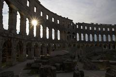 Croatia, Istria, Pula, View of Roman amphitheatre - stock photo