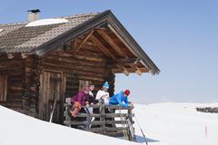 Italy, Trentino-Alto Adige, Alto Adige, Bolzano, Seiser Alm, People standing - stock photo