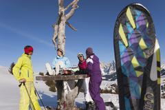 Italy, Trentino-Alto Adige, Alto Adige, Bolzano, Seiser Alm, People with skiing - stock photo