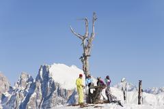 Italy, Trentino-Alto Adige, Alto Adige, Bolzano, Seiser Alm, People resting near - stock photo
