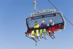 Italy, Trentino-Alto Adige, Alto Adige, Bolzano, Seiser Alm, Group of skiers - stock photo