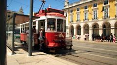 Train city Lisbon Terreiro do  Paço Stock Footage