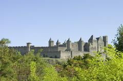 France, Aude, View of Carcassonne Castle Stock Photos