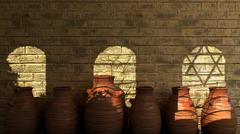 Ancient stone wall with shadows, pitchers and religions symbols Stock Illustration