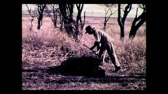 Young hunter after shooting world record maned lion, Tanzania 1937 Stock Footage