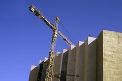 Amman, Jordan, View of building with crane - stock photo
