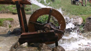 Stock Video Footage of old water mill wheel