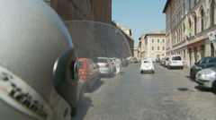 Scooter following Fiat 500 in Rome 2 (slomo) Stock Footage