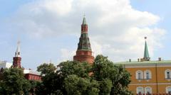 Corner Arsenalnaya Tower of Kremlin - stock footage