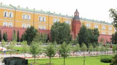 Alexander Gardens at Kremlin Wall Stock Footage