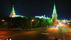 Moscow Kremlin and embankment of Moskva river at night, panning, time-lapse. Stock Footage