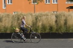 Germany, Bavaria, Teenage girl riding bicycle with basket, smiling - stock photo