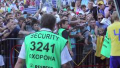 Security on soccer match. Steward secures fan zone from players, click for HD Stock Footage