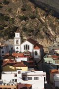 Spain, Canary Islands, La Gomera, Vallehermoso, View of san juan bautista church Stock Photos