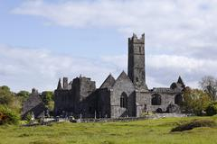 Ireland, County Clare, Quin Friary, View of auin abbey - stock photo