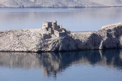 Croatia, Adria, Dalmatia, View of castle on pag island Stock Photos