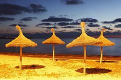 Spain, Balearic Islands, Majorca, View of beach at evening Stock Photos