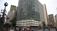 Establishing shot downtown Sao Paulo Brazil Stock Footage