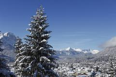 Germany, Bavaria, Upper Bavaria, Garmisch-Partenkirchen, View of lechtaler alpen - stock photo
