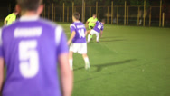 Stock Video Footage of Few passes and shot on goal. Amateur football team training., click for HD