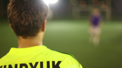 Soccer (football) player attacks, tricks, strikes on goal, click for HD - stock footage