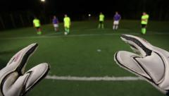 Goalkeeper saves 3 times in football match. Soccer keeper POV, click for HD Stock Footage
