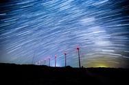 Stock Photo of wind turbine with star trials 1