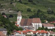 Stock Photo of Austria, Lower Austria, Wachau, Spitz an der Donau, View of village