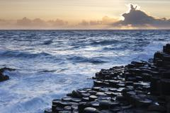 Stock Photo of United Kingdom, Northern Ireland, County Antrim, View of causeway coast at dusk