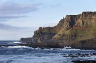 Stock Photo of United Kingdom, Northern Ireland, County Antrim, View of causeway coast at dusk
