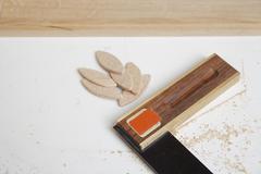 Germany, Upper Bavaria, Schaeftlarn, Angular measure with saw dust Stock Photos