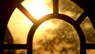 Stock Video Footage of Sunset Through Antique Window 1