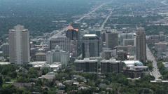 Salt Lake City summer heat haze urban center HD 8675 Stock Footage
