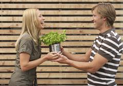 Stock Photo of Germany, Munich, Mid adult woman giving man potted plant
