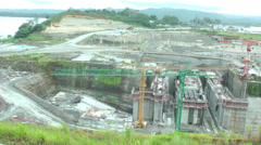 Stock Video Footage of Day of work in the Panama Canal expansion project