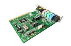 computer sound blaster - audio card - stock photo