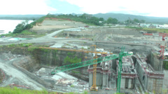 Stock Video Footage of Panama Canal expansion work area in Panama City on August 10, 2013, Panama
