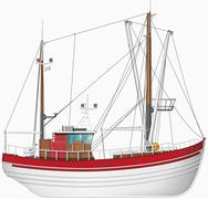 Illustration of fishing boat against white background, close up - stock illustration