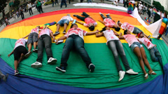 Homosexual Gay and Lesbians protest against homophobia, Rio de Janeiro, Brazil - stock footage