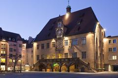 Germany, Baden-Wurttemberg, Heilbronn, Historical town hall with astronomical - stock photo