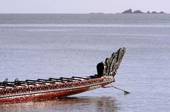 traditional new zealand maori waka - stock photo