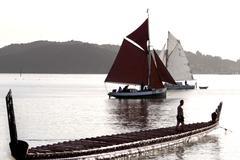 Traditional new zealand maori waka Stock Photos