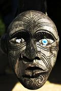 Maori carving on a marae Stock Photos