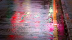 Close rainy sidewalk Stock Footage