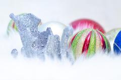 christmas balls and a sledge - stock photo