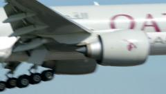 Qatar Cargo airplane landing late 11043 Stock Footage