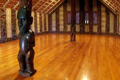 interior of a marae (maori metting house) - stock photo