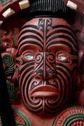 maori carving on a marae - stock photo
